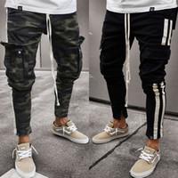Moda Erkekler Pantolon Günlük Kamuflaj Pantolon Çalışma Kargo Kamuflaj Pantolon Yan Çizgili Kalça Pantolon Artı boyutu S-3XL