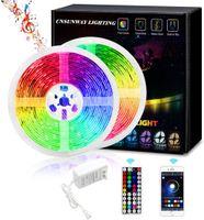 5050 striscia di RGB LED Controller Wifi luce 5M 60led / m impermeabile nastro al neon flessibile del nastro Power Adapter Music Control Strip + Bluetooth + 12V