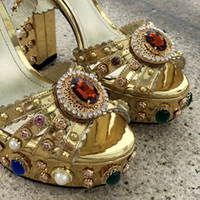Hot Sale-dies diamond Pearl 14CM Chunky high heel open peep-toes European American palace Platform SANDALS SHOES Gold size 35-42