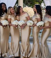Champagne Mermaid Bridesmaid Dresses 2019 Cheap Simple Off S...