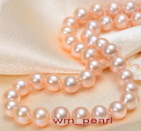 "Fine Pearls Jewelry LONG ROUND 36 ""10-11mm REALE vera perla del mare del Sud ROSA collana 14K"