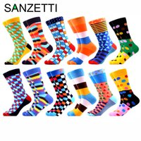SANZETTI 12 Çift / Çok Erkekler Renkli Penye Komik Mürettebat Çorap Kaliteli Streetwear Stil Çorap Yenilik Hediye happpy Çorap CX200630