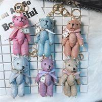 Блестки Key Chain игрушки куклы мультфильм ленты лук Хрустальный медведь брелок брелок для женщин сумка Подвеска подарков Аксессуары Porte Клеф Charm