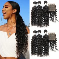 Dilys Remy Hair Bundles Water Wave with Closure Human Hair W...