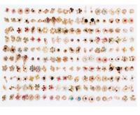 100 paires femmes acrylique petit cristal Stud Ensembles Boucles d'oreilles enfants fille coeur étoile Couronne boucle d'oreille bijoux nouvelle