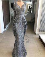 2019 Dantel Kılıf Dantel Abiye Mermaid Sequins Örgün Olay Parti Kıyafeti Artı Boyutu Pageant Elbiseler Custom Made BC0951