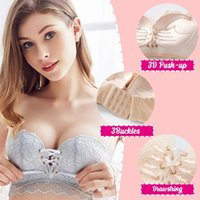Magic Non- Slip Drawstrings Push Up Lace Bra Strapless Drawst...