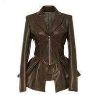 재킷 블랙 고딕 가짜 가죽 PU 자켓 여성 겨울 봄 오토바이 블랙 가짜 고트 가죽 코트 코트 야외 여성