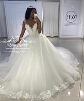Бальное платье принцессы Старинные кружевные свадебные платья 2020 Аппликации Сдержанные из бисера плюс размер Vestido de Novia Gelinlik Trowjurk Bridal Prits