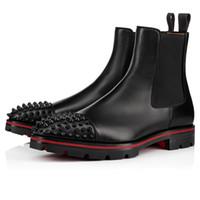 Top Brand скольжению на Red Bottom Kicko лодыжки загрузки черный Подлинная кожа Шипы осень зима мужские сапоги Отлично Дизайнерские Knight сапоги