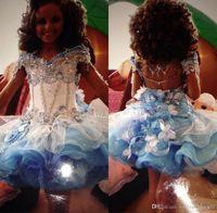 Pageant abiti fuori dalla spalla sveglio del Organza Mini Glitz delle ragazze in rilievo Strass Cupcake Blu Bianco Piccolo Fiore ragazza abiti della festa di compleanno