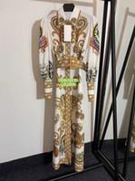 Mulheres moda de luxo Vintage Design Imprimir lapela Neck camisetas Vestidos luva Lantern vestidos longos Vestido camisa High-End personalizado Pista de vestido