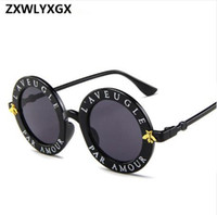 2019 new sunglasses small bees round frame sunglasses men an...