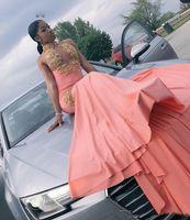 남아 프리 카 공화국 복숭아 핑크 인 어 댄스 파티 드레스 골드 아플 리 케 섹시 등이없는 공식적인 이브닝 드레스 2019