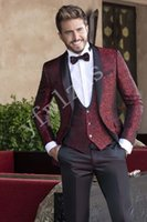 Handsome Groomsmen scialle risvolto smoking dello sposo degli uomini Wedding Dress Man Giacca Blazer Prom Cena 3 tuta (Jacket + Pants + Tie + Vest) B312