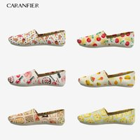 CARANFIER Women Canvas Shoes Cartoon Illustration Printed Su...