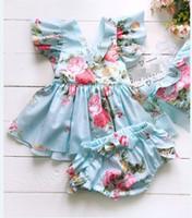 Infantil da criança do bebê mangas flor Tops PP Shorts conjunto de 2 peças Outfits bebê recém-nascido meninas roupas de verão sunsuit veste roupa