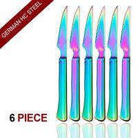 6-штучные многоцветные ультра-острые зазубренные твердые ручки стейк-ножи, красочное столовое серебро столовые приборы Набор столовых приборов, радужная нержавеющая сталь