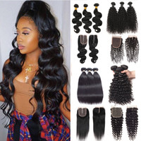 10A Brazilian Virgin Hair Bundles with 4x4 Lace Closures Str...