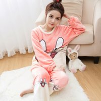 Women Autumn Pajama Sets Flannel Cat Cartoon Warm Women Slee...