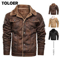 Winter Jacket Men Thick Warm Suede Chamois Jackets Male Moto...
