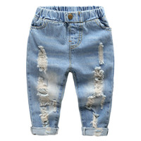 키즈 스트레이트 다리 청바지 작은 아기 소년 소녀 패션 찢어진 서부 청바지 데님 바지 찢어진 구멍 청바지 바지