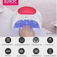 SUN2C 48W Lampe à ongles UV Lampe SUN2 Séchoir à ongles pour gel UVled Sèche-linge Capteur infrarouge avec tampon de silicone rose Utilisation du salon