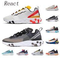react 2019 Top Quality reagir elemento 87 55 tênis para homens mulheres Antracite Osso Leve triplo preto moda mens formadores sports sneaker