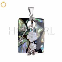 White Flowers Abalone Shell Rectangle Pendant Natural Sea Pa...