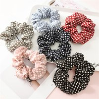 1 Pz Polka Dot Design Capelli Scrunchies Ponytail Holder Legami di capelli Gomme Tessuto in chiffon Scrunchy Ponytail Holder