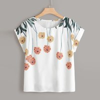 Modo delle donne Plus Size Casual Tops Fiori Stampa camicia estate O-Collo Polo