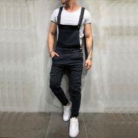Yfashion 남성 악세사리 데님 바지 Mens Carpenter Overalls 턱받이 Jumpsuits 모토 바이커 진 바지 Jeans Homme Fashion Streetwear