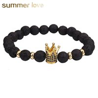 Nova Chegada 8 MM Contas de Pedra de Lava Pulseira para Mulheres Homens Cobre Coroa Zircão Inlayed Pulseira Cura Elastic Moda Jóias Presente