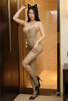 Hot-vente à la mode sexy jarretelle des femmes avec des bas de soie sexy entrejambe ouvert, imprimé léopard uniforme séduisant une pièce underwea sexy