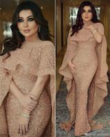 Luxo Sereia Árabe Vestidos de Prom Vestidos de Jóias Lantejoulas Lantejoulas Comprimento do Assoalho Médio Oriente Formal Vestidos de Partido Noite