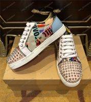2020 Classic Shoes Männer Frauen Mode-Spitzen-Turnschuhe Lederschuhe Turnschuhe Strass Graffiti flache rote Sohle Bottoms Freizeitschuh