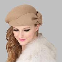 OZyc 100% yün Vintage Sıcak Yün Kış Kadın Bere Fransız Sanatçı Bere Şapka Kap Tatlı Kız Hediye Için bahar ve sonbahar şapkalar S18120302