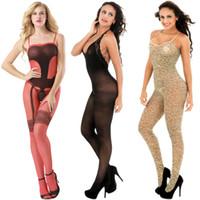 Seksi İç Açık Kasık Bodystocking bodysuit pijamalar Tayt Egzotik Giyim Tulum Tüm Vücut Çoraplar Teddies 146