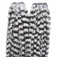 cheveux vierges bouclés brésiliens crépus 2pcs Bundles de tissage de cheveux humains gris cheveux vierges 2pièces non-Remy Bundles