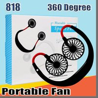 818 Mini Serin Fan Taşınabilir USB Şarj Edilebilir Fan Boyunband Tembel Boyun Asılı Çift Soğutma Mini Fan Perakende Kutusu ile Günlük Yaşam için