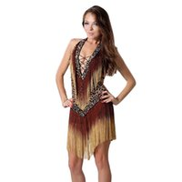 Desgaste de la etapa 2021 Vestido de baile del salón de baile Disfraz de Samba para mujeres Sexy Leopard Print Salsa Vestidos con borlas latinos