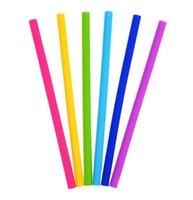 Silikon Stroh wiederverwendbare Silikon Flexible Straight Smoothies Strohhalme Getränke Shop Küche Umweltfreundliche bunte Strohhalme DHL geben shippi frei