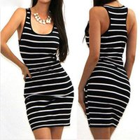 Women Casual Striped Bandage Bodycon Dress Sexy Slim Sleevel...