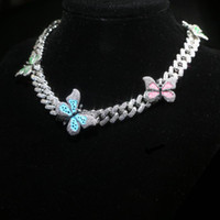 12mm hip hop Rainbow Enamel Butterfly Charm choker Necklace ...