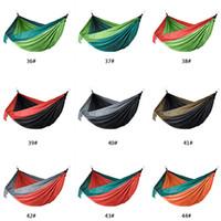 106 * 55inch Außen Parachute Tuch Hammock faltbare Feld Camping Schaukel hängendes Bett Nylon Hängematte mit Seil Karabiner 44 Farben DBC H1338-1