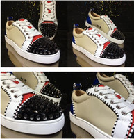Célèbre Patchwork Cuir causales marche Hommes Low Top Rouge Bas Sneaker Designer Party Dress de luxe de Studs Sneakers EU35-47