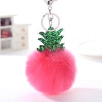 Kabarık Faux Kürk Topu Anahtarlık Kadın Çantası Noel Ağacı Ananas Gümüş Anahtarlık Biblo Araba Anahtarlık Zincirleri