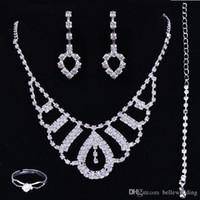 Monili di qualità nuziale High Set collana nozze accessori orecchini del braccialetto anello con strass Bidal monili di modo regolano # DB-JS010