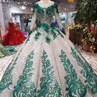 Ball Gown Shiny Evening Dresses Prom Green Appliques O- Neck ...