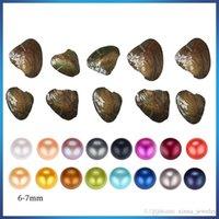 Paketlenmiş Vakumlu tarafından ücretsiz nakliye 2020 Akoya doğal İnci Oyster 6-7mm Yuvarlak İnci istiridye içinde Akoya Oyster Shell colouful Pearls ile Takı